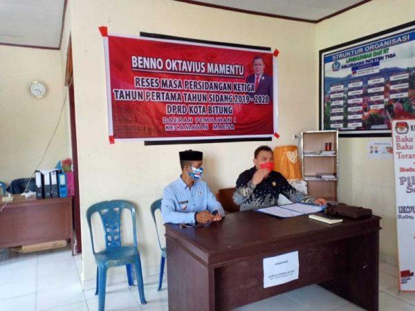 Benno Oktavius Mamentu melakukan reses di 8 Kelurahan di Kecamatan Maesa.
