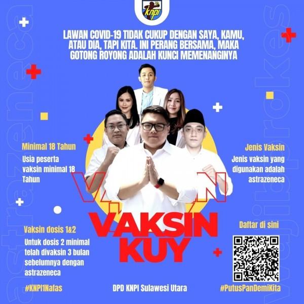 Memutus mata rantai covid 19, DPD KNPI Sulut pun turun tangan menggelar vaksinasi bagi masyarakat Sulut. (Foto.ist)