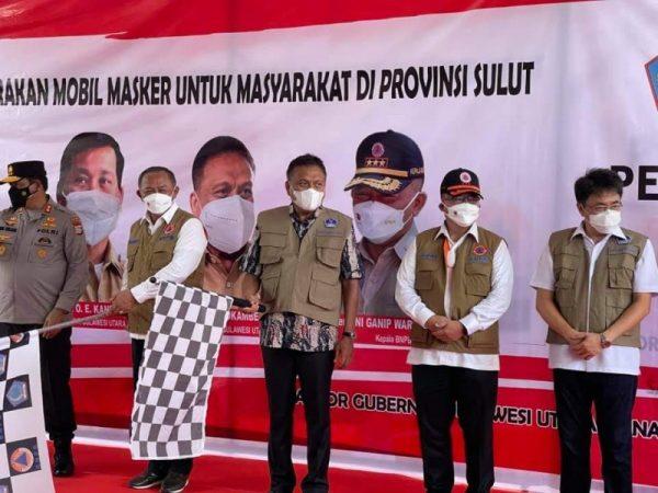 Pelepasan mobil masker yang digelar di Lobby Kantor Gubernur Sulut. ( Foto.ist)